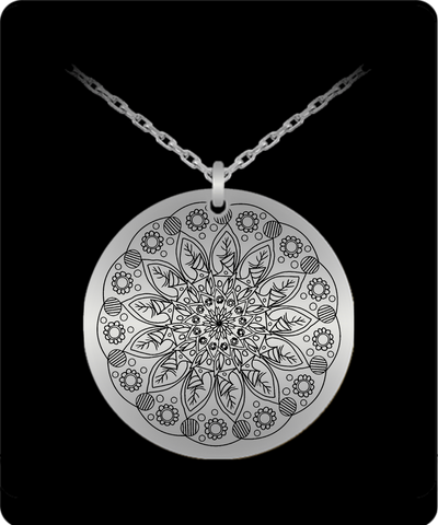 Laser Engraved 18K Gold Plated or Stainless Steel Flower Design 4 Necklace