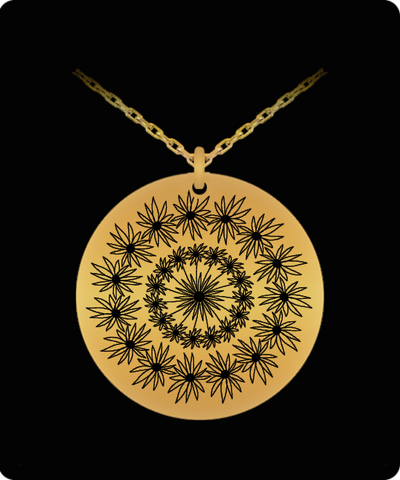 Laser Engraved 18K Gold Plated or Stainless Steel Flower Design 1 Necklace