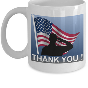 US Troop & Veteran Thank You Salute Mug