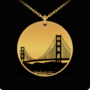 Laser Engraved 18K Gold Plated or Stainless Steel Golden Gate Bridge Necklace