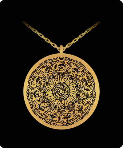 Laser Engraved 18K Gold Plated or Stainless Steel Flower Design 3 Necklace
