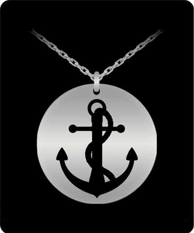 Laser Engraved 18K Gold Plated or Stainless Steel Rope and Anchor Necklace