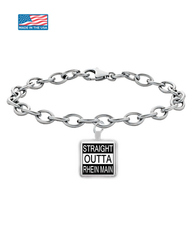 """STRAIGHT OUTTA RHEIN MAIN"" Bracelet with Square Pendant"
