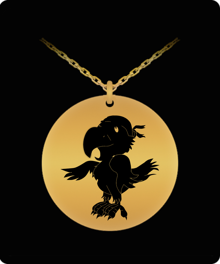 Laser Engraved 18K Gold Plated or Stainless Steel Pirate Parrot Necklace