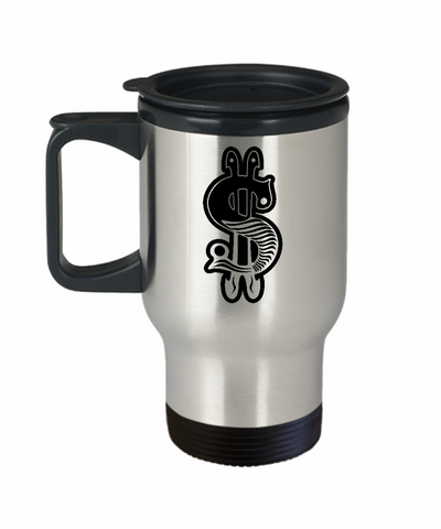 Fancy Money 14 oz Stainless Steel  HOT COLD Travel Mug Gift by Entrepreneur Insider and Our World Mall