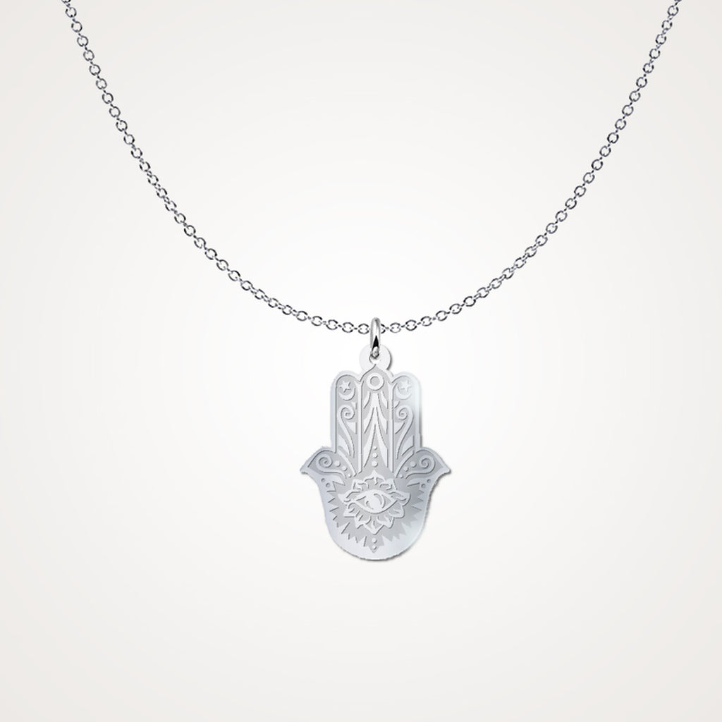 Art Deco HAMSA .925 Silver Necklace