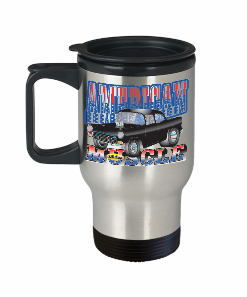 American Muscle 1955 Chevy 14 oz Stainless Steel  HOT COLD Travel Mug Gift by Stunt Park and Our World Mall
