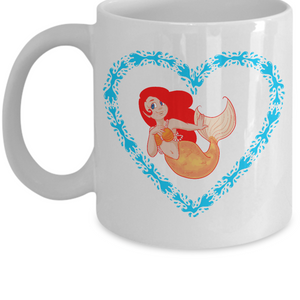 Mermaid Redhead With Freckles and Aqua Heart