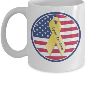 Support Our Troops Ribbon with US Flag Roundlet Mug