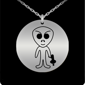 Laser Engraved 18K Gold Plated or Stainless Steel Alien With Raygun Necklace