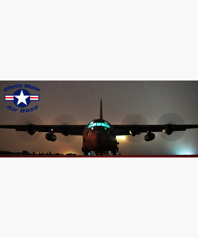 C-130 on Rhein Main Air Base Flightline on Starry Night