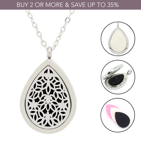 'Inverted Flowers' Essential Oil Diffuser Necklace - Stainless Steel