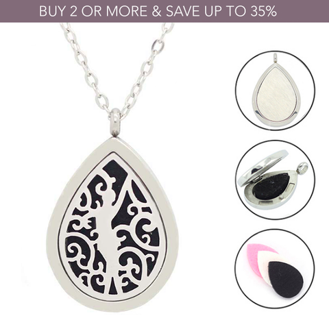 'Lady Teardrop' Essential Oil Diffuser Necklace - Stainless Steel