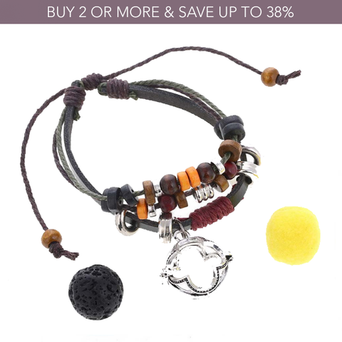 Cross Beaded Leather Diffuser Bracelet