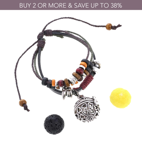 Hearts Beaded Leather Diffuser Bracelet