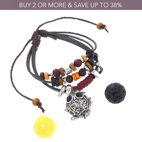 Wise Owl Beaded Leather Diffuser Bracelet