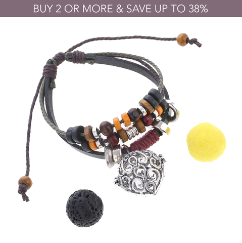 Swirls Beaded Leather Diffuser Bracelet