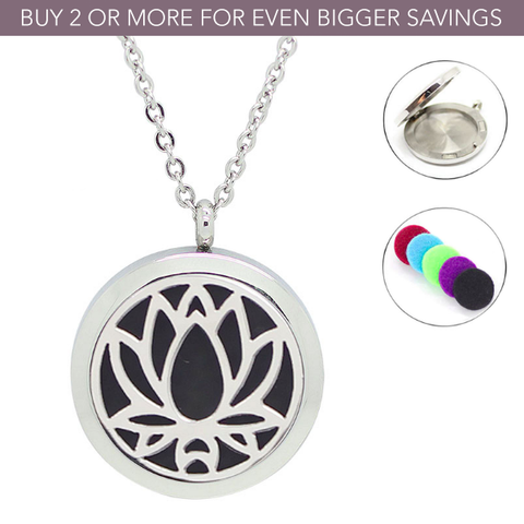 'Lotus Flower' Stainless Steel Essential Oil Diffuser Necklace
