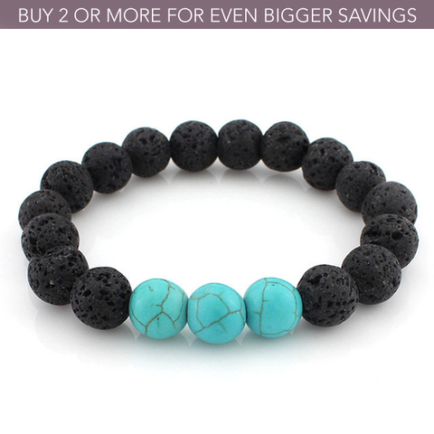 Turquoise Lava Stone Oil Diffuser Bracelet - 40% Off