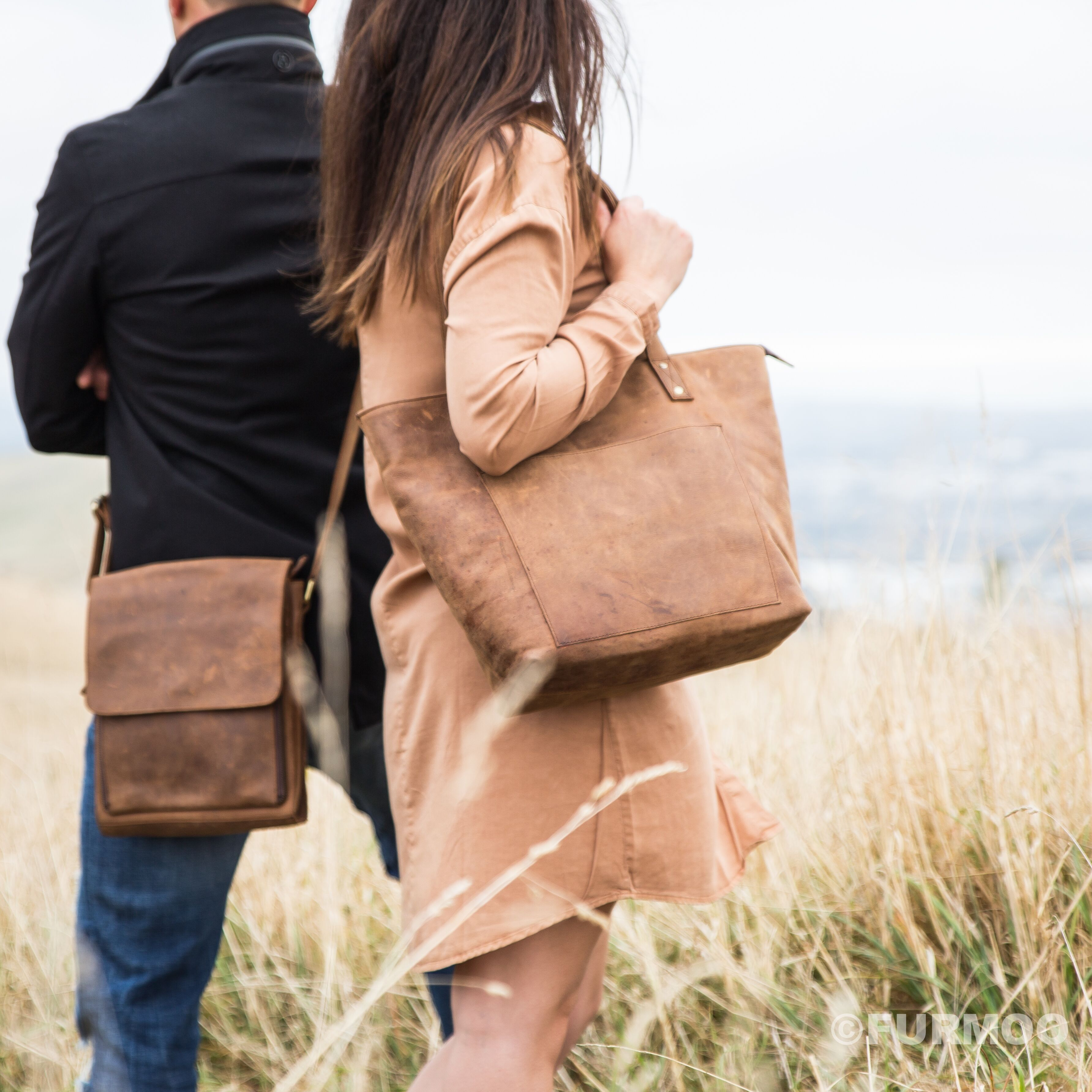 Sandy leather tote