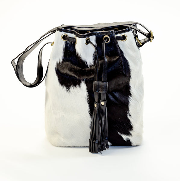 Black/White Drawstring Satchel