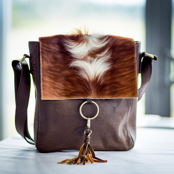 Ring satchel sheepskin leather
