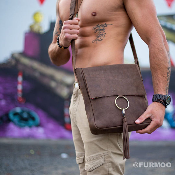 Ring satchel (crazy horse leather )