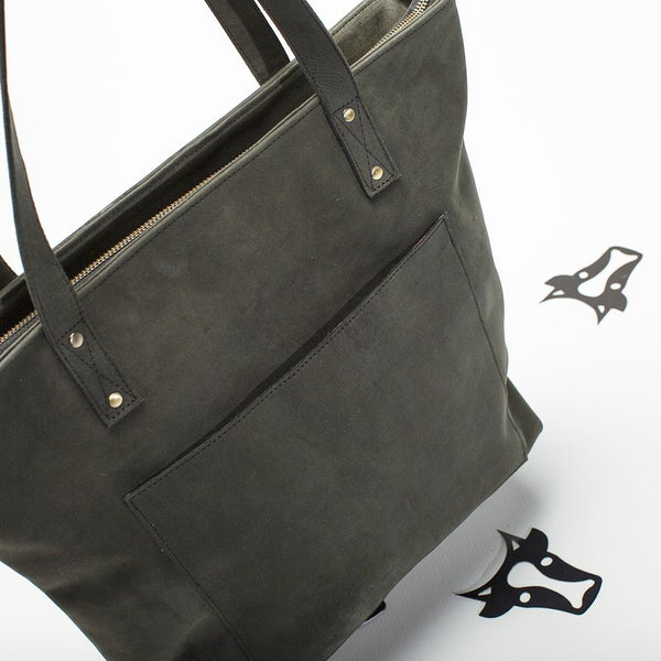Steel leather tote