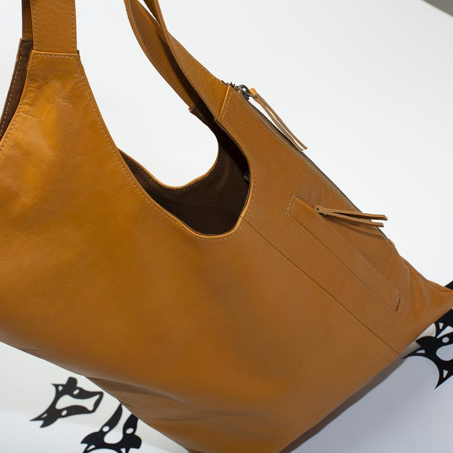 Sling leather tote