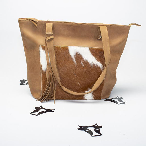Latte leather tote