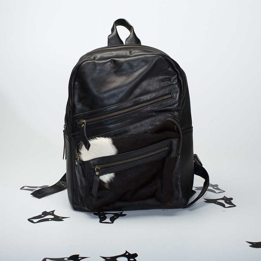 Leather and Cowhide Backpack (Black)