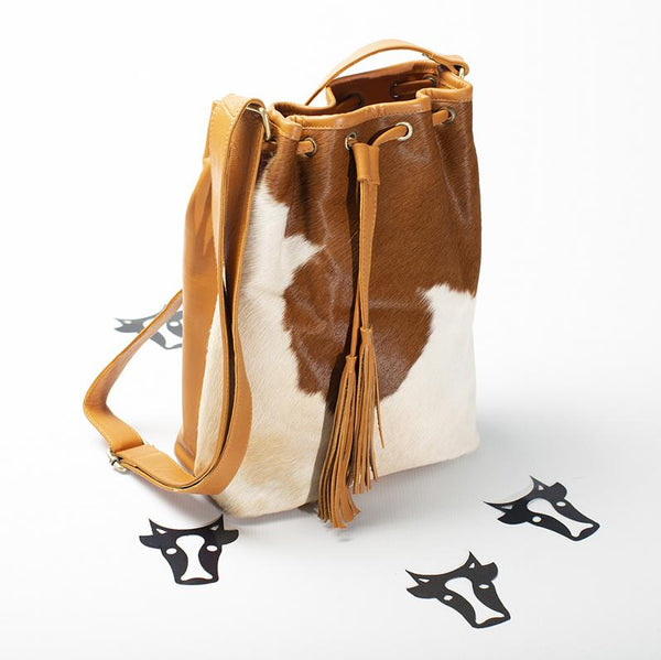 Tan Drawstring Satchel