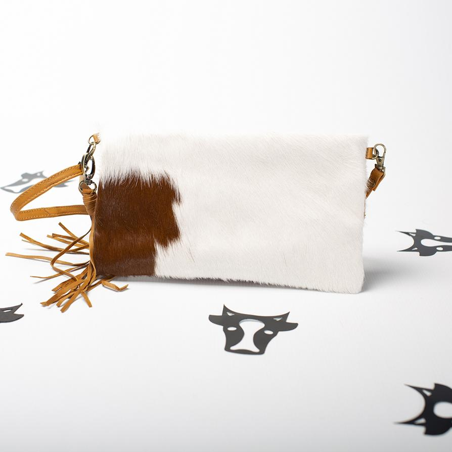 Tan Cow Clutch