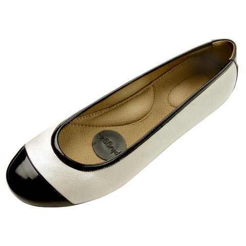 EOS Ivory Metallic Leather Flats