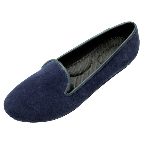 VESTA Navy Blue Suede Loafers
