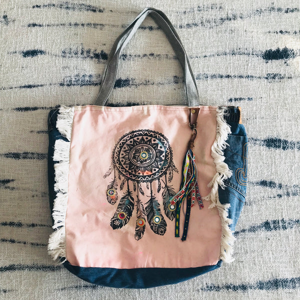 Dream catcher square gypsy bag (pink)