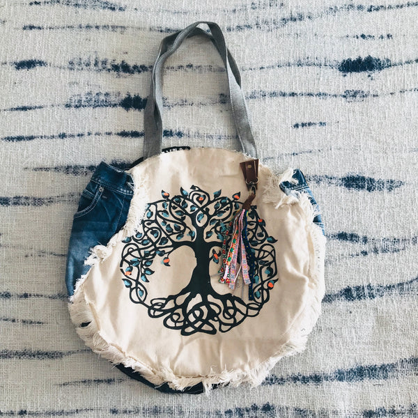 Tree of life round gypsy bag