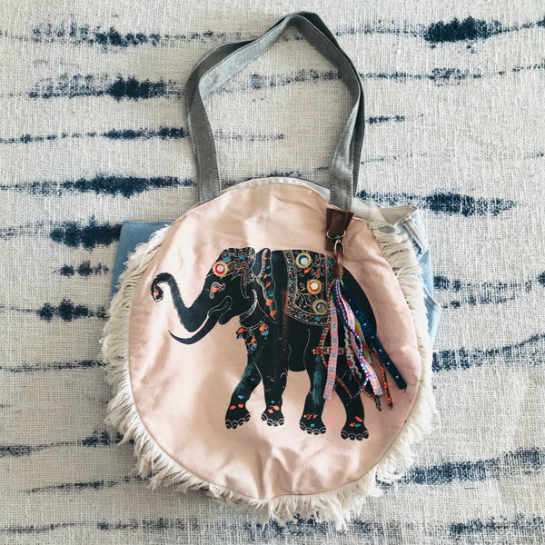 Elephant round gypsy bag