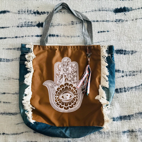 Hamsa square gypsy bag (brown)