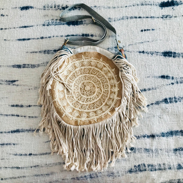 Mandala round gypsy bag with fringes