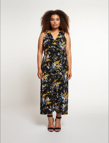 DEX Curvy Girl Black & Floral Jumpsuit
