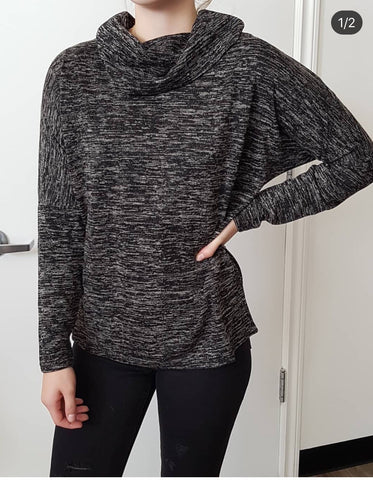 CHARLIE B COWL NECK SWEATER LACE UP BACK