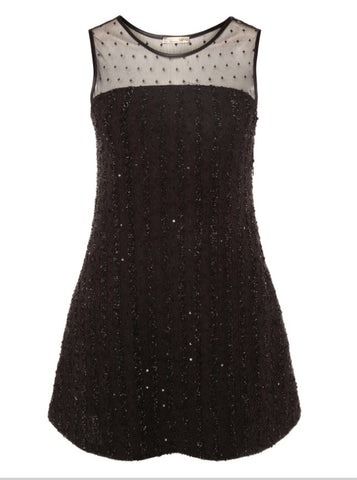 DEX SEQUIN MESH COMBO DRESS