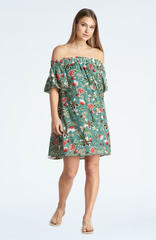 KERSH GREEN  OFF THE SHOULDER DRESS