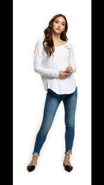 DEX White Long Sleeve with Lace Shoulder Detail