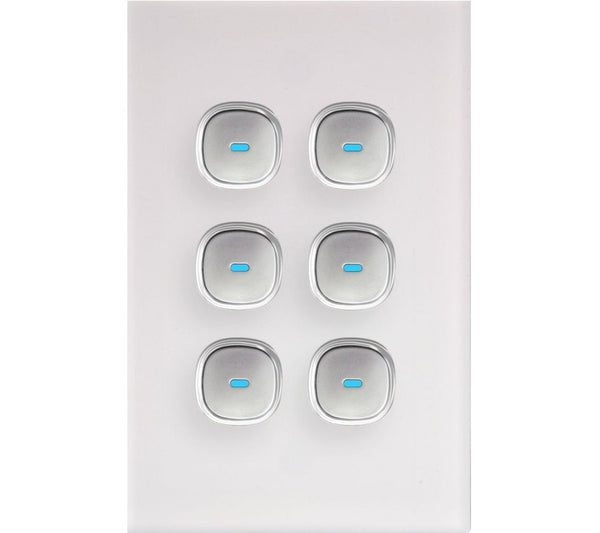 Opal 6 Gang Glass Panel Light Switch