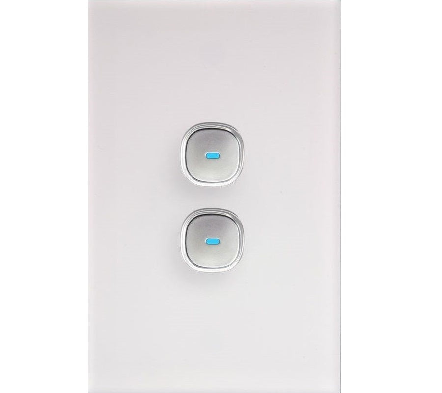 Opal 2 Gang Glass Panel LED Light Switch