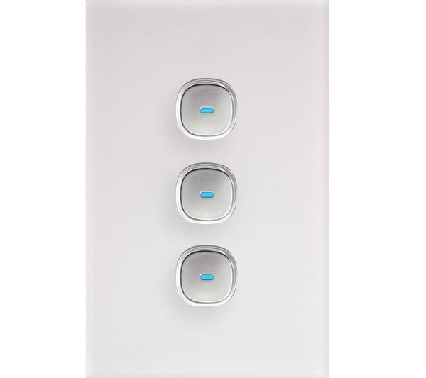 Opal 3 Gang Glass Panel LED Light Switch | ElectrOmart Home Light Switch