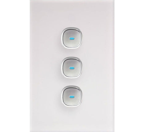 Opal 3 Gang Glass Panel LED Light Switch