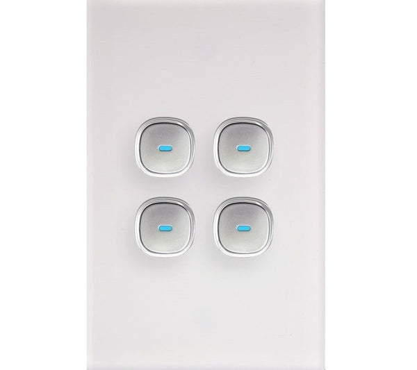 Opal 4 Gang Glass Panel LED Light Switch
